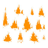 Fire flame vectorisolated. Fire flame hot burn vector icon. Warm danger fire flame and cooking yellow bonfire. Light blazing campfire ignite fire flame design Royalty Free Stock Photos
