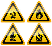 Fire flame warning sign. Fire warning signs isolated over white Royalty Free Stock Images