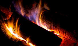 Fire flame on wood Stock Image