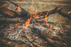 Fire Flame wooden camp burning Outdoor Stock Photo