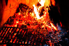 Fire and Flames. Fireplace winter. Close up Stock Images
