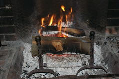 Fire and Flames. Fireplace winter. Close up Royalty Free Stock Photos