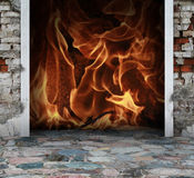 Fire and flames. Stone floor with fire and flames Royalty Free Stock Photo