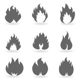 Fire and flames. Symbols in gray Royalty Free Stock Photos
