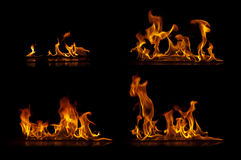 Fire flames. Isolated on a black background collection Stock Images