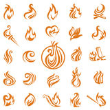 Fire flames. Collection of different fire icons Stock Photo
