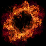 Fire flames. Fire ring, isolated on black background Royalty Free Stock Images