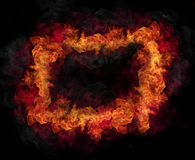 Fire flames. Fire frame isolated on black background Stock Photos