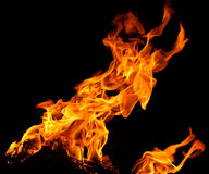 Fire flames. Isolated on a black background stock photo