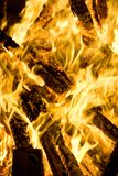 Fire flames. Burning hot wood fire in colors Stock Photos