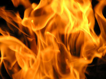 Fire flames. Raising in a dark background royalty free stock photos