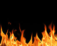 Fire flames. On black background. High resolution image Stock Images
