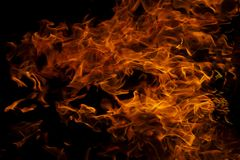 Fire flames on abstract art black background texture royalty free stock photo