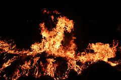 Fire flames against black background. Fire with licking flames against a black background Royalty Free Stock Images