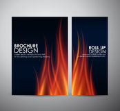 Fire flames background. Brochure business design template or roll up. Royalty Free Stock Photography