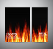 Fire flames background. Brochure business design template or roll up. Stock Images