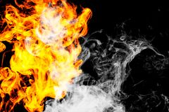 Fire flames background. Dense fiery smoke on a black isolated background. Background of smoke vape stock photos