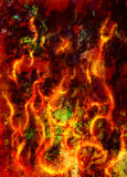 Fire flames background, LAVA structure. Computer collage. Earth Concept. Stock Photography