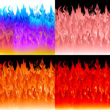 Fire flames background set. Vector abstract backgrounds Stock Image