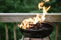 Fire and Flames in A Backyard Barbecue stock photography