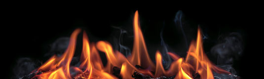 Fire Flames Banner With Black Background Royalty Free Stock Images