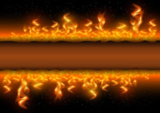 Fire flames with banner on black background. Illustration of fire flames border on black background Royalty Free Stock Photography