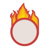 Fire flames with banner. Fire flames burning with circle shape banner template over white background. vector illustration Royalty Free Stock Image