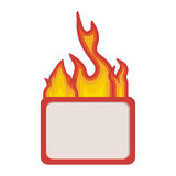 Fire flames with banner. Fire flames burning with square shape banner template over white background. vector illustration Royalty Free Stock Photography