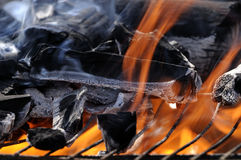 Fire flames in the barbecue Royalty Free Stock Photos