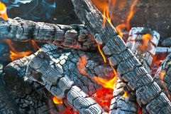 Fire. Flames on the Barbecue grill Royalty Free Stock Images