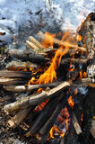 Fire flames. Beautiful fire flames - burning in the wood in the winter Stock Photo