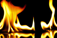 Fire flames on black Royalty Free Stock Photo