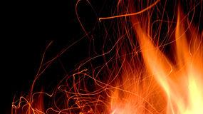 Fire and flames on a black background Royalty Free Stock Photography