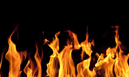 Fire flames on black background. For your design Stock Photography