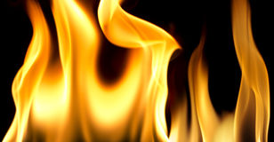 Fire flames on black background. Fire ingniting over reflective surface in a black background Royalty Free Stock Image