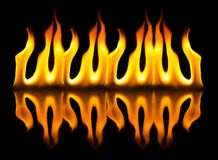 Fire flames. On a black background Royalty Free Stock Images
