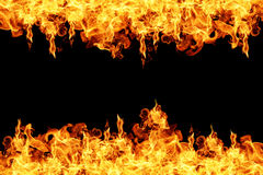 Fire flames on black background Royalty Free Stock Photography
