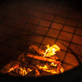Fire flames on black background - barbecu fire place Royalty Free Stock Photos