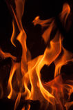 Fire flames on a black background. Blaze fire flame texture background. Close up of fire flames isolated on black background. Burn. Abstract fire flames Stock Photo
