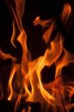 Fire flames on a black background. Blaze fire flame texture background. Close up of fire flames isolated on black background. Burn Stock Photo