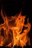 Fire flames on a black background. Blaze fire flame texture background. Close up of fire flames isolated on black background. Burn Stock Image