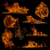 Fire flames on black background. Close-up Royalty Free Stock Photography