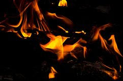 Fire flames on black background. Royalty Free Stock Photos