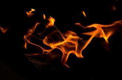 Fire flames on black background. Royalty Free Stock Image