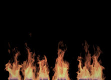 Fire and Flames. Fire flames on Black Background (Rendering in the Three-dimensional Design Program Stock Images