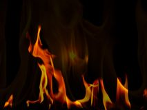 Fire flames on black background. Fire texture Stock Image