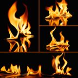 Fire flames on black Stock Image