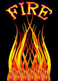 Fire flames bonfire. Burning bonfire with orange, yellow and red flames on a black background with the word fire above Stock Photo