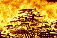 Fire flames on a bonfire. Fireman emergency. Danger combustion. Emission Stock Image