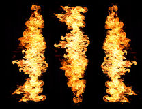 Fire flames. Flames from burning fiery patterns on black background Royalty Free Stock Images